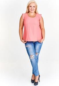 Różowa bluzka Fokus bez rękawów z okrągłym dekoltem w stylu casual