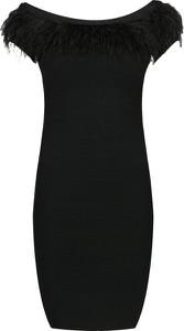 Czarna sukienka Marciano bandażowa z dekoltem w łódkę mini