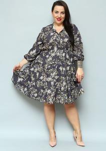 Sukienka KARKO z dekoltem w kształcie litery v z długim rękawem midi