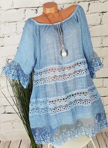 Niebieska sukienka Sandbella mini w stylu boho