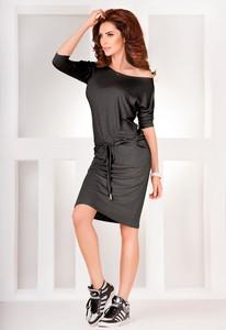 Czarna sukienka NUMOCO z dekoltem w łódkę w stylu casual mini
