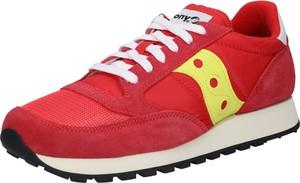 Czerwone buty sportowe Saucony ze skóry sznurowane