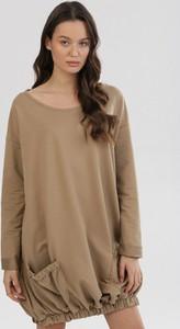 Brązowa bluza born2be w młodzieżowym stylu krótka