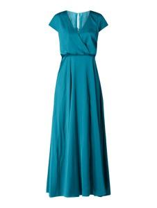 Niebieska sukienka Unique z dekoltem w kształcie litery v z satyny maxi