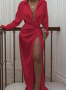 Sukienka Cikelly z długim rękawem maxi z dekoltem w kształcie litery v