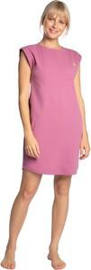 Fioletowa sukienka Lalupa z bawełny z krótkim rękawem mini