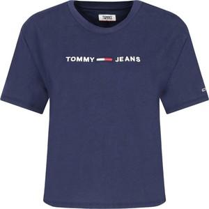 Niebieski t-shirt Tommy Jeans w stylu casual z krótkim rękawem