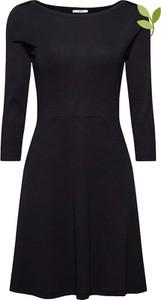 Czarna sukienka Esprit z długim rękawem z okrągłym dekoltem