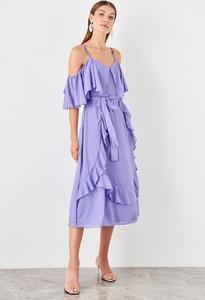 Sukienka Trendyol z długim rękawem z dekoltem w kształcie litery v midi