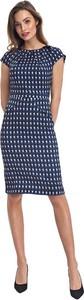 Niebieska sukienka Colett z okrągłym dekoltem z krótkim rękawem