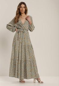 Miętowa sukienka Renee maxi z długim rękawem