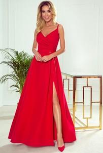 Czerwona sukienka NUMOCO maxi z dekoltem w kształcie litery v na ramiączkach