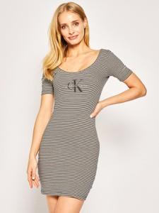 Sukienka Calvin Klein mini z okrągłym dekoltem z krótkim rękawem