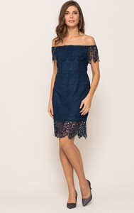 Niebieska sukienka VISSAVI z krótkim rękawem hiszpanka