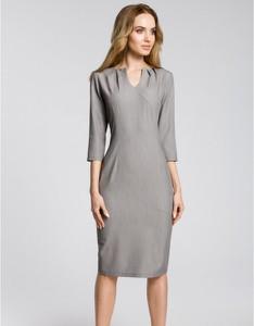 Sukienka MOE ołówkowa z dekoltem w kształcie litery v z długim rękawem