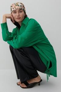 Zielona koszula Reserved z kołnierzykiem z bawełny w stylu casual