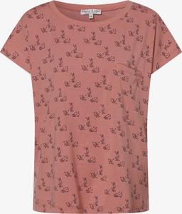 Różowy t-shirt Marie Lund z okrągłym dekoltem z dżerseju