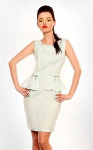 Sukienka Moda Dla Ciebie z lnu baskinka z okrągłym dekoltem
