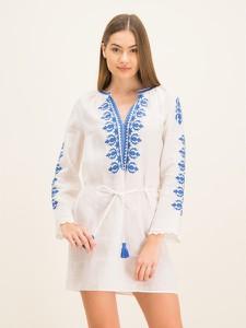 Sukienka Tory Burch w stylu casual z dekoltem w kształcie litery v z długim rękawem