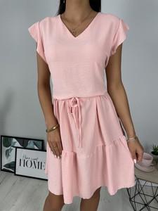 Różowa sukienka ModnaKiecka.pl z krótkim rękawem mini