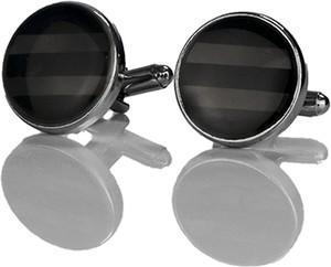 Em Men`s Accessories Spinki do mankietów klasyczne srebrne okrągłe z oczkiem EM 9