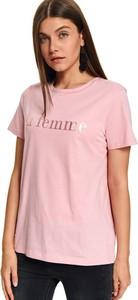 Różowy t-shirt Top Secret z okrągłym dekoltem w stylu casual
