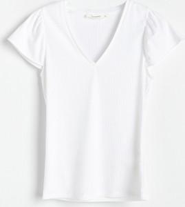 T-shirt Reserved w stylu casual z dzianiny z dekoltem w kształcie litery v