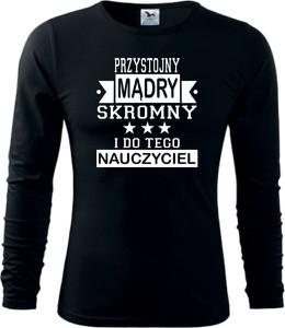 Czarna koszulka z długim rękawem TopKoszulki.pl z długim rękawem w młodzieżowym stylu