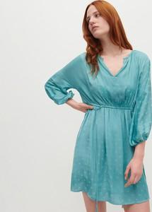 Turkusowa sukienka Reserved w stylu casual mini z dekoltem w kształcie litery v