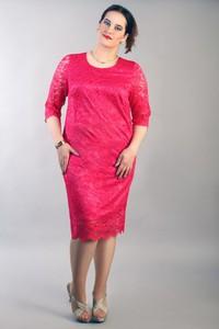Różowa sukienka Oscar Fashion midi z krótkim rękawem dopasowana
