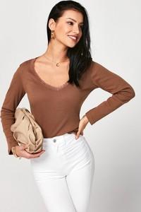 Brązowa bluzka born2be z długim rękawem w stylu casual