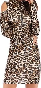 Brązowa sukienka Cikelly z długim rękawem bodycon mini