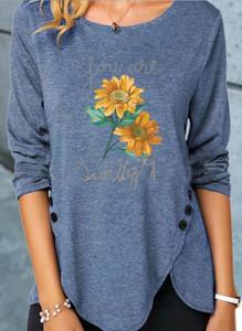 Niebieska bluzka Sandbella z długim rękawem z okrągłym dekoltem