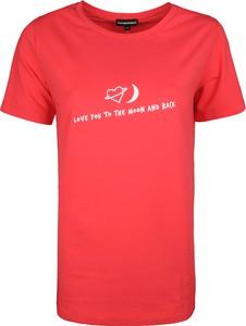 Czerwony t-shirt Emporio Armani z tkaniny z okrągłym dekoltem w stylu casual