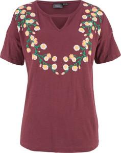 Czerwony t-shirt bonprix bpc bonprix collection w stylu boho