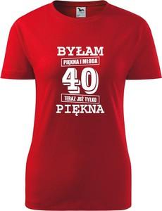 Czerwony t-shirt TopKoszulki.pl z okrągłym dekoltem