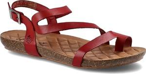 Czerwone sandały Yokono ze skóry z klamrami