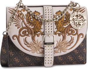 Brązowa torebka Guess z haftem mała