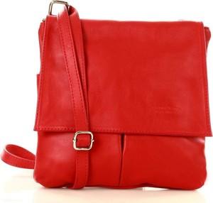 Czerwona torebka GENUINE LEATHER ze skóry w stylu glamour matowa