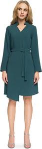 Zielona sukienka Stylove midi z dekoltem w kształcie litery v z długim rękawem