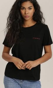Czarny t-shirt Renee z okrągłym dekoltem