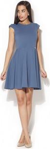 Niebieska sukienka Katrus z okrągłym dekoltem w stylu casual mini