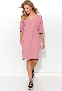 Różowa sukienka Numinou z dekoltem w kształcie litery v