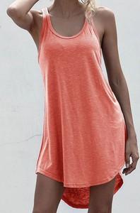 Pomarańczowa sukienka Sandbella oversize w stylu casual