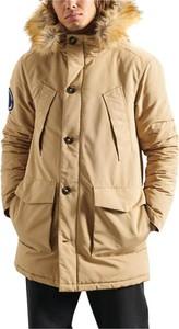 Brązowa kurtka Superdry w stylu casual długa