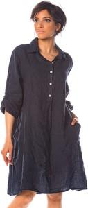 Granatowa sukienka La Fabrique Du Lin z długim rękawem z lnu w stylu casual