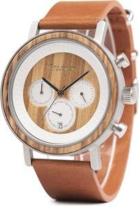 Zegarek drewniany Niwatch - kolekcja ROYAL - ZEBRAWOOD na brązowym pasku