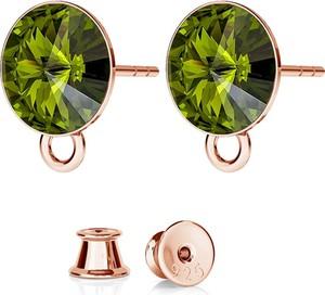 GIORRE SREBRNE KOLCZYKI DO CHARMSÓW SWAROVSKI RIVOLI 925 : Kolor kryształu SWAROVSKI - Olivine, Kolor pokrycia srebra - Pokrycie Różowym 18K Złotem