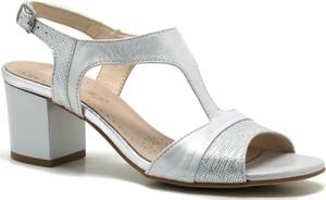 9aabba1a1dc20 Srebrne sandały Acord na średnim obcasie w stylu casual