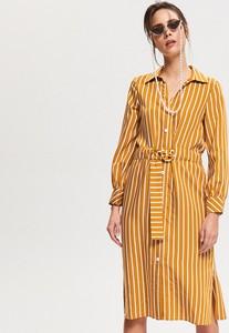 Żółta sukienka Reserved szmizjerka w stylu casual midi
